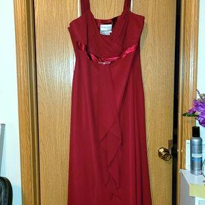 Formal evening gown burgundy color.